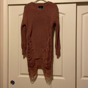 Distressed Drop Shoulder Slit Side Sweater